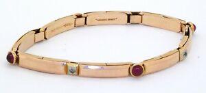 American Beauty antique heavy 14K gold 1.12CT diamond/ruby stretch link bracelet