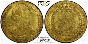 G016 COLOMBIA. rare over date 1777/6-JJ 8 Escudos. PCGS AU55