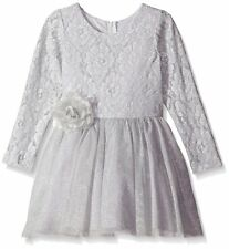RARE EDITIONS Silver Lace Tulle Ballerina Holiday Occasion Dress Size 6 Formal