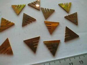 Small Brass Triangle Blank for Inlay, Jewellery Making  etc..  x 12