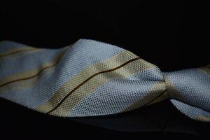 Robert Talbott Best Class Bond St Pale Blue Grenadine Fina Cream Stripe Silk Tie