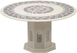 "36"" Marble White Top Counter Table Lapis Inlaid Pietradura Art Christmas Gifts"