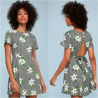 Lulus Picnic Please Dress Womens Medium Black White Gingham Floral Print Mini