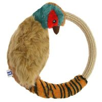 PHEASANT DOG PET CHEW FETCH THROWING ROPE PULL TUG TOY RING SQUEAKY PET PLUSH