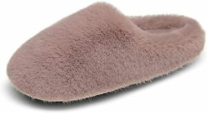 Womens Faux Fur Slippers Plush Fuzzy Soft Slip On House Slippers