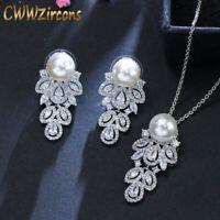CWWZircons Langer Tropfen CZ Kristall 925 Silber Perlenkette Ohrringe Schmuckset