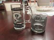 VTG 1970's Houze Art NFL Oakland Raiders See Thru Helmet Tumbler & Glass Mug