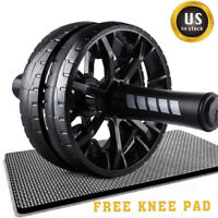Ab Roller Dual Wheel Abdominal Stomach Exercise Fitness Gym Equipment + Knee Pad