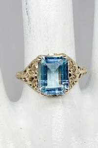 Estate $3000 5ct Natural Emerald Cut Aquamarine 14k White Gold Filigree Ring