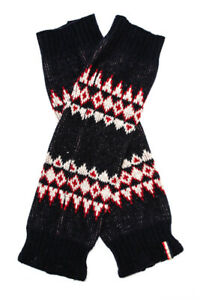 Moncler Womens Printed Knit Leg Warmers Navy Blue Red White Wool