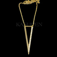 Long Triangle Geometric made with Swarovski Crystal Punk Jewelry Gold T Necklace