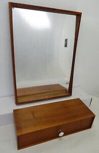 Mid Century modern small teak wood accent mirror floating shelf chest set Eames