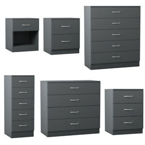 Bedside Table Cabinet Chest of Drawers Modern Bedroom 1 2 3 4 5 Drawers in Grey