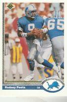 FREE SHIPPING-MINT-1991 Upper Deck #305 Rodney Peete Lions PLUS BONUS CARDS