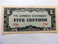 Vintage Japanese Five (5) Centavos WWII Mint Condition Note