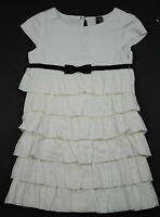 Baby Gap Tiered Ruffle Dress Girls White Black Bow NWT