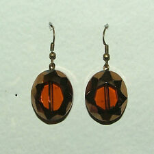 * ANTIQUE * GOLD TONES BROWN faceted GLASS DROP EARRINGS hook