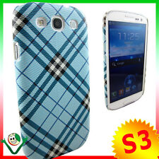 Custodia rigida per Samsung i9300 Galaxy S3 SIII PLAID AZZURRA back cover S III