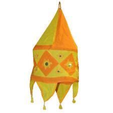 Pantalla lámpara India amarillo naranja 48cm algodón decorar patchwork oriental