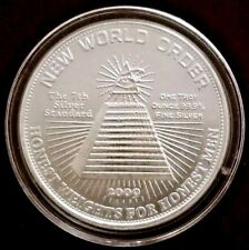 1 oz .999 SILVER ART COIN NEW WORLD ORDER 10 WORLD REGIONS POST 666 ILLUMINATI