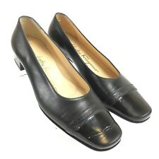 Salvatore Ferragamo Women's Shoes Black Leather Pumps Italy DR 45381/45353 5.5B