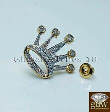 Real 10k Yellow Gold Crown Earring with Real (0.15-0.20)CT Diamond for Men/Women