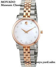 Movado Museum Classic White Mother of Pearl Dial Diamond Ladies Watch 0607077