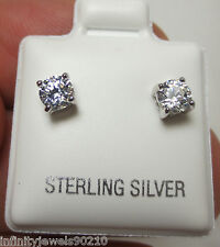 Unisex Round Brilliant Cut Mens or Ladies Stud Earrings 925 Sterling Silver 4mm