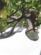 Michael Antonio Mock Alligator Patent Leather Clear Wedge, Ankle Strap Sandal
