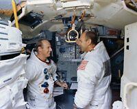 PETE CONRAD ALAN BEAN APOLLO 12 ASTRONAUTS IN SIMULATOR 8X10 NASA PHOTO (ZZ-325)