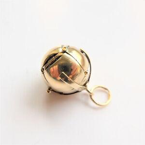 Masonic Orb Charm Fob Pendant Vintage 9ct Gold & Silver 375 Italian Leather Box