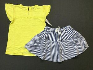 NWT Carters Girl 2-Piece SS Top & Striped Skirt-Yellow/Navy-Sz 4/5-MSRP $36(101)