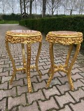French Louis XVI Pedestal Side Tables in Gold With Pink Marble Top - a Pair