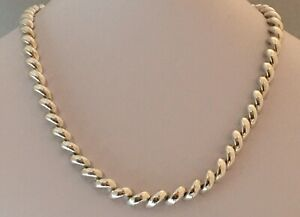 """Vior Italy 925 Sterling Silver San Marco Macaroni Chain Necklace 18"""" 1.37 oz"""