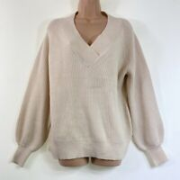 BNWT NEXT ivory cream v-neck ribbed knit long sleeve jumper size M 12 euro 40