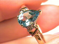 Solid 9k 375 yellow GOLD Ring 6.5 pear swiss blue topaz sapphire small nice