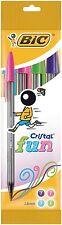 BIC Cristal Bolígrafos de diversión con grandes Punta de 1.6 Mm-Surtido de Colores, PK de 4