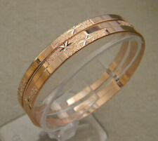 Lady's Pink Rose Gold Plated Bangle Bracelet Set 4 pieces Semanario 3.5mm Wide