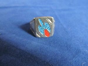 Mens Boys Unisex Turquoise Coral Chip Fashion Ring Assorted Sz