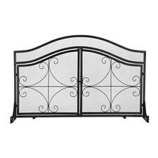 Black Wrought Iron Fireplace Screen With Magnetic Double Doors Spark Guard Mesh