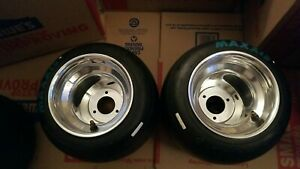"""2-NEW-polished go kart wheels with used tires. American bolt pattern 6""""×9.25"""""""