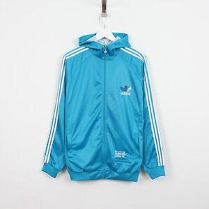 V86 Vtg Adidas Chile 62 Women Blue Track Jacket Zip Training Gym Hoodie Size XL