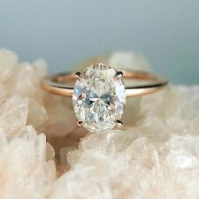 1.00 Cttw Oval Cut Diamond 14K Rose Gold Finish Solitaire Engagement Ring