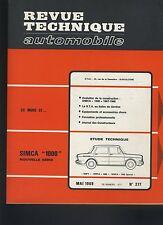 (30A) REVUE TECHNIQUE AUTOMOBILE SIMCA 1000