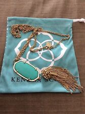 Kendra Scott Rayne Green Long Gold Necklace