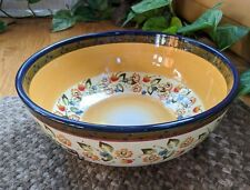 Tabletops Gallery French Quarter Handpainted Floral Dots Large Serving Bowl