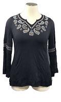 STYLE&CO 1X black stretch knit long sleeve V-notch neck knit top w/embroidery