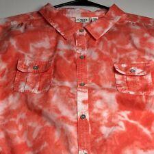 Cato Women's Long Sleeve Button Up Shirt Top 22 24 W Plus Orange Tie Dye Pockets