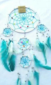 DREAM CATCHER Large 17cm web, Hand Made, 45cm Drop White / Turquoise Stunning!