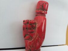 Chinese red coral snuff bottle Dragon